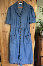 Warehouse Blue Denim Button Up Midi Dress Size 14