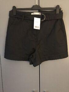 Ladies Next Black Leather Look High Waist Denim Shorts Size 16 Bnwt £28