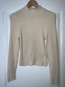 Urban Outfitters Cream Teddy Fluffy high neck Long sleeve Sweater Size M NEW