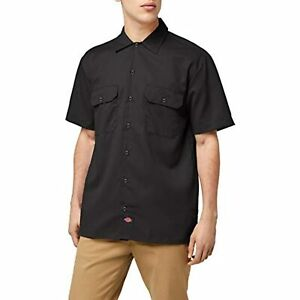 Dickies Men's Short-Sleeve Work Shirt, Black, Small~Easy Care & Stain Release