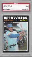 1971 Topps baseball card #76 Ted Savage, Milwaukee Brewers graded PSA 7