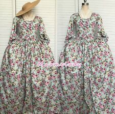 Marie Antoinette Robe a l'Anglaise Polonaise Cosplay Costume Dress Cotton E