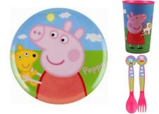 Children's Peppa Pig Dinner Set Including Plate Cup Cutlery Fork & Spoon