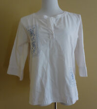 Women's Jaclyn Smith Sport White w/Blue Embroidery 3/4 Sleeve Tunic Top size M