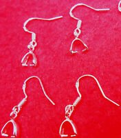 20PCS Wholesale DIY Findings 925 Sterling Silver Hook Pinch Bail Ear Wire SALE