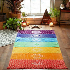 "EP_ 59"" Rainbow Chakra Tapestry Stripe Towel Yoga Beach Mat Shawl Blanket Wide"