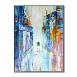 New Framed Hand Painted Modern Abstract Oil Painting Canvas Building Wall Decor