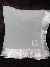 Little Giraffe Baby Blanket Solid Grey Sherpa White Polka Dot Satin Trim