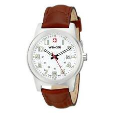 Wenger 72801 Men's Field Classic White Dial Brown Strap Watch