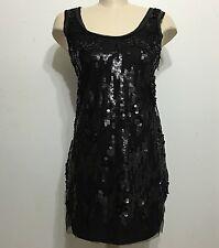 Zara Mini Black Dress Sequence Sleeveless Side Zip Up Size Medium