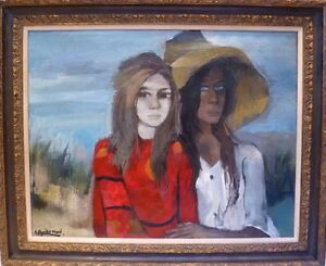 """RAMON AGUILAR MORE - SPAIN c1970 LARGE OIL PAINTING """" AMIGAS """"  LISTED"""
