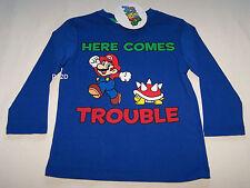 Nintendo Super Mario Boys Blue Long Sleeve T Shirt Size 3 New