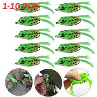 New 3PCS//5Pcs Frog Fishing Lure Soft Bass Tackle Tassels 10.5G //5.5CM Hook Lures
