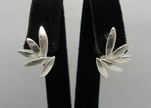 Stylish Sterling Silver Earrings Leaf Solid 925 New Perfect Quality Empress