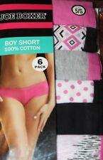 Joe Boxer Women's 6-Pack Boy Short 100% Cotton Underwear Panties Size 5 / Small