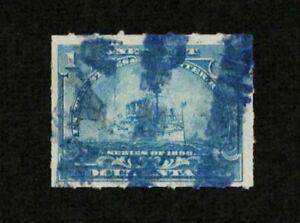 US Revenue 1898 R163 Battleship Documentary Stamp 1c Striking Blue Cancel VF-XF