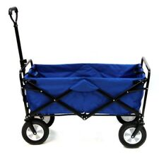 Blue Collapsible Folding Outdoor Utility Wagon For Anywhere And Yard Lawn Garden
