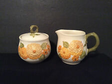 Vintage covered sugar bowl and creamer set yellow sunflowers green trim