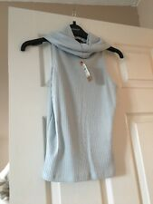 River Island Baby Blue Roll Neck Sleeveless Top Size 8 BNWT