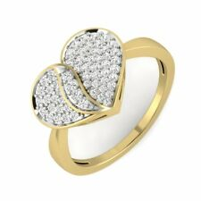 VVS1/D 14Carat Solid Yellow Gold Love Heart Ring Round Cut Ring Valentines Gift