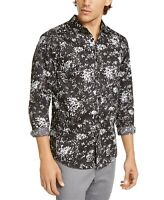 INC Mens Shirt Black Size Large L Button Down Splatter Paint Longsleeve $69 #159