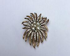 Vintage PEARL & RHINESTONE ENCRUSTED anemone STARBURST BROOCH PIN GORGEOUS!