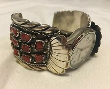 Vintage Navajo Argent Sterling Corail Watch Cuff Bracelet Native American Western
