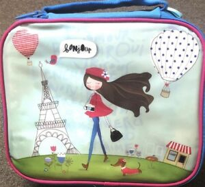 Cooler Lunch Bag W Handle Name Label School Office Picnic New York Eiffel Tower
