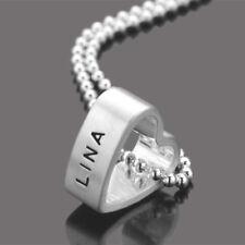 MEIN HERZ 925 Silberkette mit Namensgravur Wunschtext Partnerschmuck