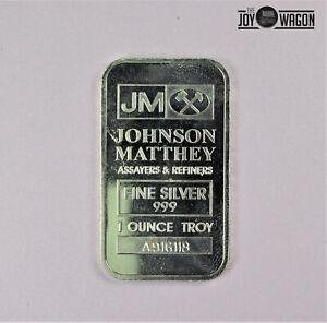 Johnson Matthey 1 Troy Oz .999 Silver Bullion Bar