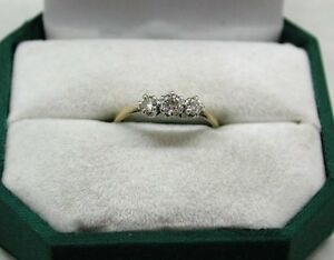 Vintage 18ct And Platinum Three Stone Diamond Ring