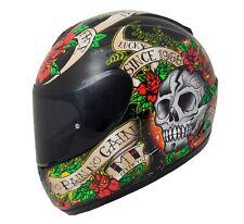 MT THUNDER SKULL & ROSES FULL FACE MOTORCYCLE MOTORBIKE CRASH HELMET ACU GOLD