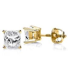 High Quality Lab Simulated Diamond Princess Cut Stud Earrings With Screw On Back