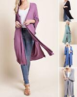 Women's Basic Open Front Kimono Loose Cardigan Top Long Plain Solid Duster