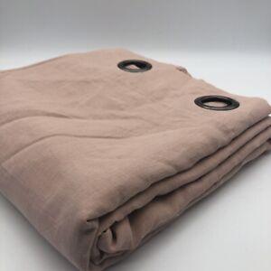 New Onega 100% Linen Curtain 350cm Pink SINGLE Door Eyelet Lined Blackout Long
