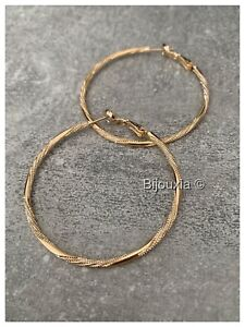 Creole Earrings 5CM Twisted And Granitées Gold Plated 750/000