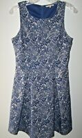41 Hawthorn Fit & Flare Jace Embroidered Dress S Blue Lace Pattern Front Pleats