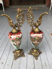 Antique Vintage Victorian Rich Pair Of Ewers Urns Vase