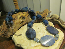 Genuine Barse Natural Blue Agate Sterling Silver 925 Gemstone Beaded Necklace