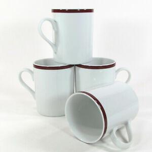 Williams-Sonoma BRASSERIE MAROON 13oz Mug Cup Set 4Pc Japan White Porcelain