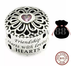 925 Sterling Silver Pink Heart CZ Love Friendship Charm Best Friends + GIFT BAG