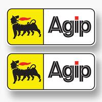 2x AGIP Logo Vinyl Sponsor Decal Sticker Racing F1 Grand Prix Oil Lubricant