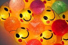 SMILEY FACE CARTOON COTTON BALL STRING KID BEDROOM,HOME,DECOR,CHILDREN LIGHTS