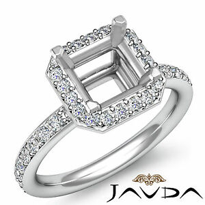 Diamond Engagement Proposed Ring 14k W Gold Asscher Semi Mount Halo Set 0.36Ct