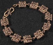"Pure Copper Bali Style Square Bead Link Chain Bracelet 7 1/4"" inside 8 1/4"""