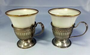 Matching Pair of Sterling Silver  RW Wallace Demitasse Frames with Lenox Inserts
