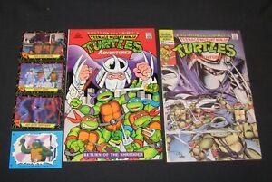 Teenage Mutant Ninja Turtles comic lot of 2 with 3 cards & one sticker, 1989-90