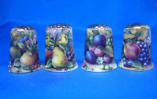 Birchcroft Thimbles -- Set of Four  -- Gold Top Fruit Paintings ( Make Offer )