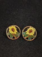 Vintage Gold Tone Cloisonne Sunflower Round Earrings 13661