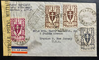 1944 Yaounde Cameroun censored Airmail cover to Trenton NJ USA